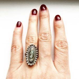 Vintage silver textured & geode cameo ring